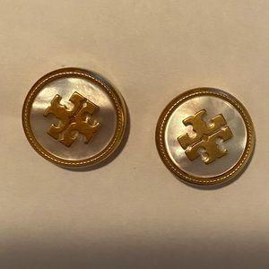 Tory Burch mother-of-pearl logo earrings